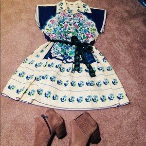 Anna Sui linen dress with belt